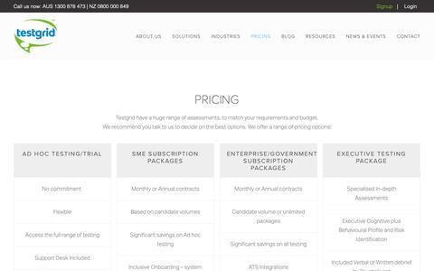 Screenshot of Pricing Page testgrid.com - Pricing — Testgrid   The on demand assessment platform - captured Nov. 18, 2018