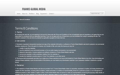 Screenshot of Terms Page franksglobal.com - Terms & Conditions | Franks Global Media - captured Oct. 6, 2014