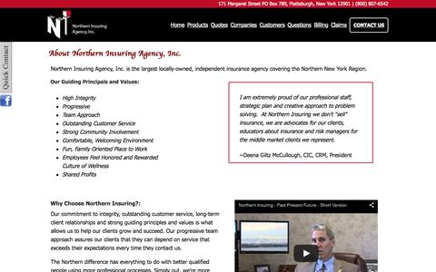 Screenshot of Team Page northerninsuring.com - About Northern Insuring Agency, Inc. - captured Aug. 13, 2015