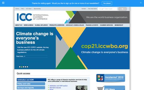 Screenshot of Home Page iccwbo.org - ICC - International Chamber of Commerce - captured Jan. 25, 2016