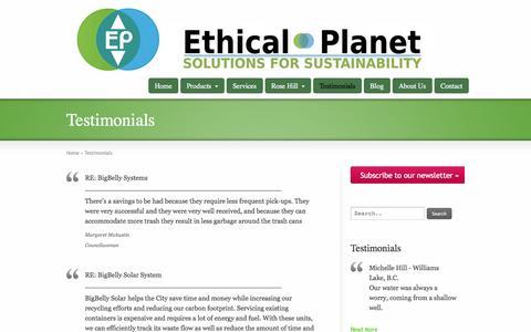 Screenshot of Testimonials Page ethicalplanet.ca - Testimonials - Ethical Planet Supply Company Ltd.Ethical Planet Supply Company Ltd. - captured Oct. 3, 2014