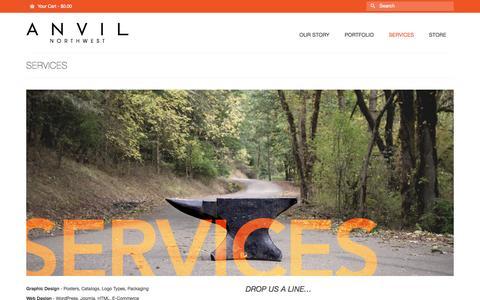 Screenshot of Services Page anvilnorthwest.com - Anvil Northwest | Graphic Design, Web Design - captured Sept. 30, 2014
