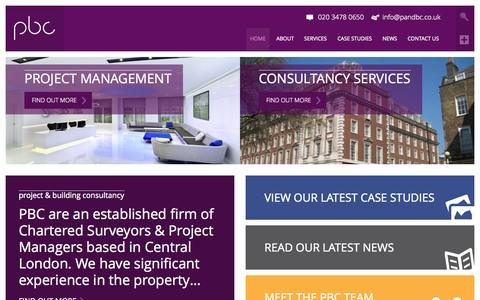 Screenshot of Home Page pandbc.co.uk - Project & Building Consultancy | PBC - captured Sept. 18, 2015