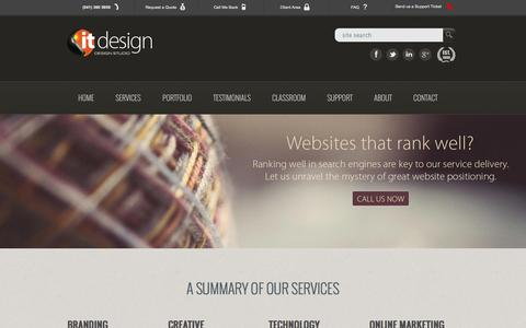 Screenshot of Services Page itdesign.co.za - Design services - captured Nov. 3, 2014