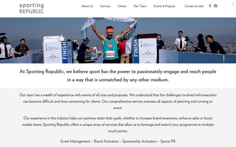 Screenshot of Services Page sportingrepublic.com - Services – Sport Marketing and Management Agency   Asia - captured June 15, 2017