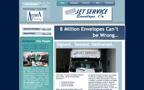 Screenshot of Home Page jetservice-envelope.com - Jet Service Envelope - Welcome! - captured June 17, 2016