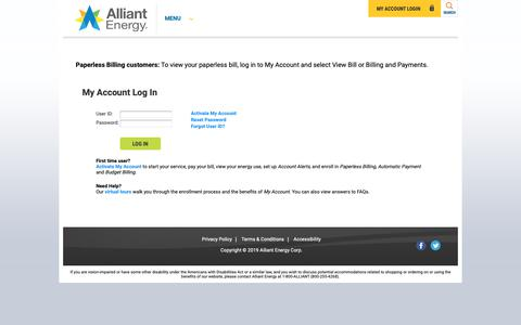 Screenshot of Login Page alliantenergy.com - Login - captured June 11, 2019
