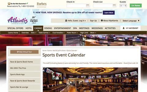 Screenshot of atlantiscasino.com - Atlantis Sports Event Calendar | Reno Sports Betting - captured Jan. 16, 2017