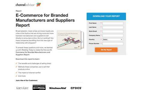 Screenshot of Landing Page channeladvisor.com - E-Commerce for Branded Manufacturers and Suppliers Report | ChannelAdvisor - captured March 23, 2016