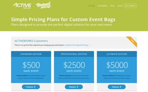 Screenshot of Pricing Page virtualeventbags.com - Pricing Plans for Digital Goody Bags - captured July 3, 2016