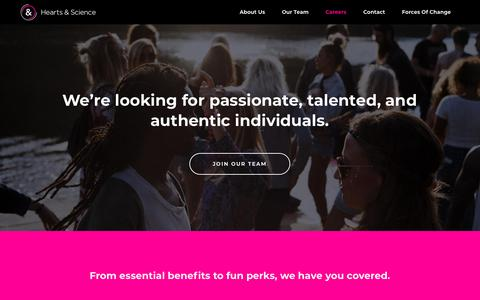Screenshot of Jobs Page hearts-science.com - Careers - Hearts & Science - captured Oct. 1, 2018