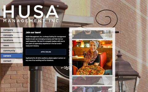 Screenshot of Jobs Page husainc.com - HUSA Management Inc. - captured Oct. 1, 2014