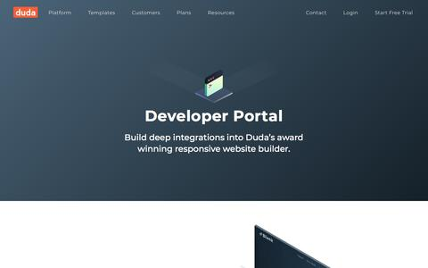 Screenshot of Developers Page duda.co - Developer Portal | DudaPro Partner Program - captured April 30, 2018