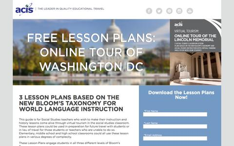 Screenshot of Landing Page acis.com - Online Tour of Washington DC - captured April 9, 2018