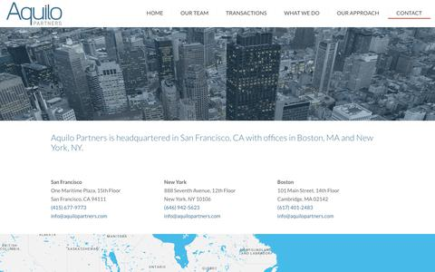 Screenshot of Contact Page aquilopartners.com - Contact - Aquilo Partners - captured Oct. 4, 2018
