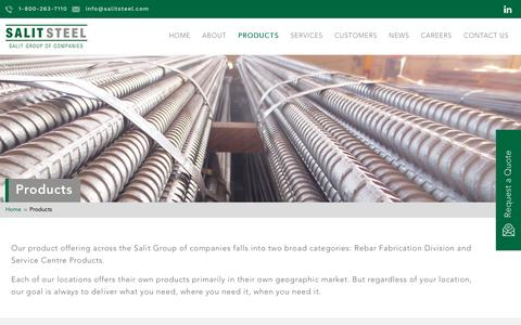 Screenshot of Products Page salitsteel.com - Salit Steel | Reinforcing Products & Pre-Fabricated Steel Products - captured May 27, 2017