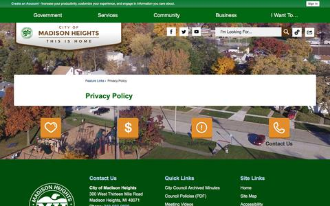 Screenshot of Privacy Page madison-heights.org - Privacy Policy   Madison Heights, MI - captured Aug. 1, 2017