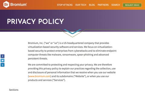 Screenshot of Privacy Page bromium.com - Privacy Policy - Bromium - captured April 10, 2018