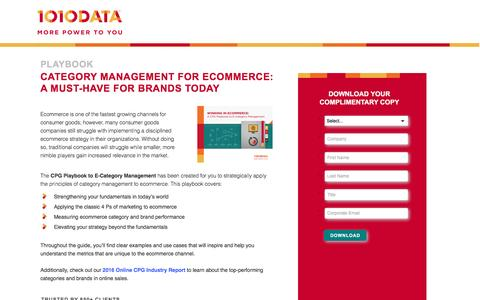 Screenshot of Landing Page 1010data.com - Category Management for Ecommerce: a Must-Have for Brands Today - captured March 10, 2017