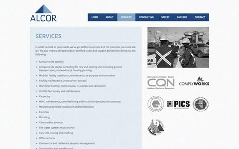 Screenshot of Services Page alcorfacilities.com - Alcor Facilities Management | Common services in Alberta - captured Oct. 4, 2014