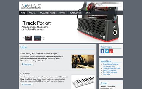 Screenshot of Home Page Press Page mworksonline.com - Music Works Distribution - News - captured Oct. 3, 2014