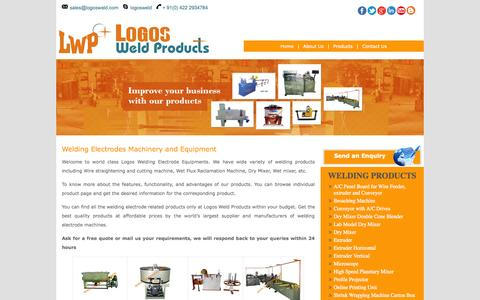 Screenshot of Products Page logosweld.com - Welding Electrodes Machinery and Equipment | Logosweld Products - captured Oct. 1, 2014
