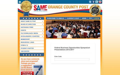 Screenshot of Login Page sameoc.org - Federal Business Symposium - captured Oct. 18, 2018
