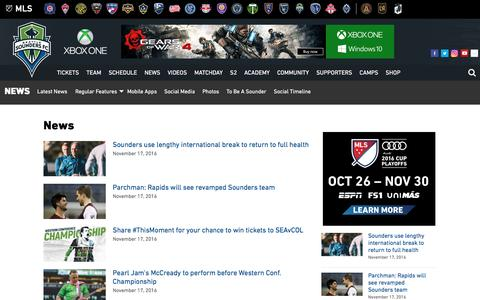Screenshot of Press Page soundersfc.com - News | Seattle Sounders FC - captured Nov. 17, 2016