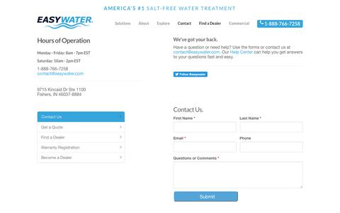 Screenshot of Contact Page easywater.com - EasyWater  » Contact - captured Nov. 4, 2018