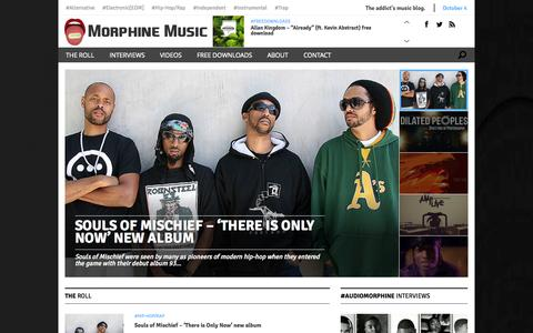 Screenshot of Home Page audiomorphine.com - Audio Morphine Music - The addict's music blog. Free downloads and exclusive interviews. - captured Oct. 4, 2014