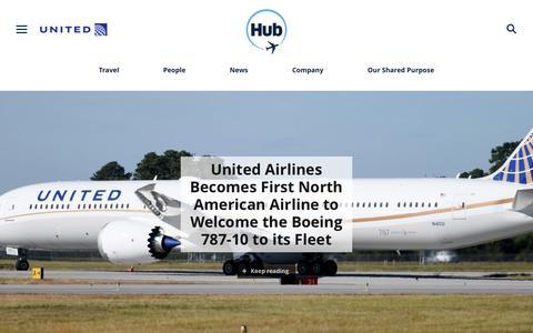 Screenshot of Press Page united.com - United Hub - Newsroom - captured Nov. 13, 2018