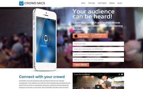 Screenshot of Home Page crowdmics.com - Crowd Mics - Smartphones are wireless microphones - captured Sept. 30, 2014