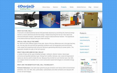 Screenshot of FAQ Page oorjafuelcells.com - FAQs - Oorja Fuel Cells - captured Sept. 12, 2014