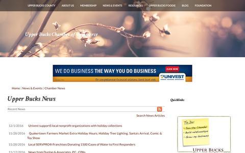 Screenshot of Press Page ubcc.org - Upper Bucks  News | Upper Bucks | Upper Bucks Chamber of Commerce | Quakertown, PA - captured Dec. 1, 2016
