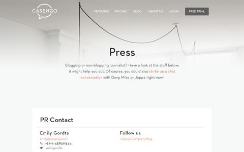 Screenshot of Press Page casengo.com - Press - Casengo - captured July 18, 2014