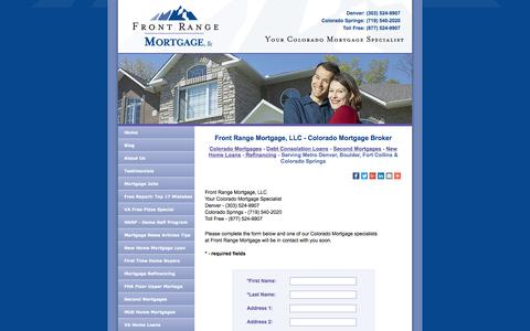 Screenshot of Contact Page frontrangemortgage.com - Front Range Mortgage - Colorado Mortgages: Home Loans at Internet Prices - captured Nov. 25, 2016