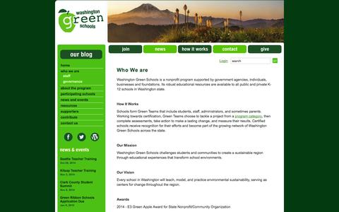 Screenshot of About Page wagreenschools.org - Who We are | Washington Green Schools - captured Oct. 27, 2014