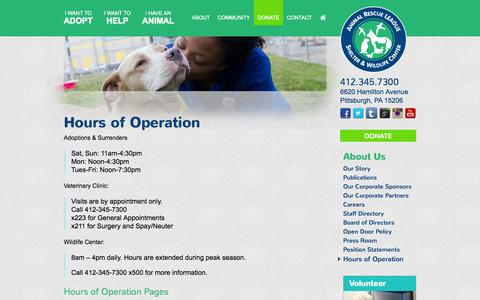 Screenshot of Hours Page animalrescue.org - Hours of Operation - Animal Rescue League Shelter & Wildlife Center - captured Oct. 4, 2014