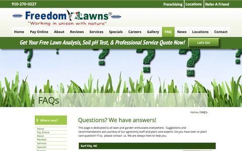 Screenshot of FAQ Page freedomlawnsnc.com - Freedom Lawns of Pender - captured Oct. 11, 2018