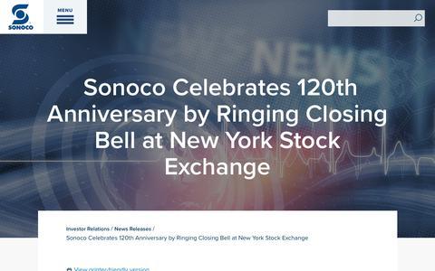 Screenshot of Press Page sonoco.com - Sonoco Celebrates 120th Anniversary by Ringing Closing Bell at New York Stock Exchange | Sonoco - captured Nov. 5, 2019