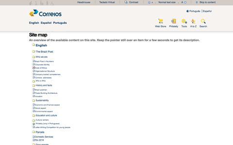 Screenshot of Site Map Page correios.com.br - Correios: encomendas, rastreamento, telegramas, cep, cartas, selos, agências e mais! - captured July 22, 2018