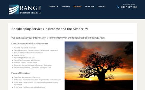 Screenshot of Services Page rangeservices.com.au - Bookkeeping Broome, Kimberley - Range Business Services - captured Oct. 27, 2014