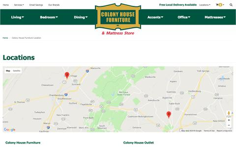 Screenshot of Contact Page Locations Page colonyhousefurniture.us - Contact Colony House Furniture in Pennsylvania - captured Oct. 22, 2018