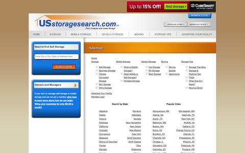 Screenshot of Site Map Page usstoragesearch.com - These are our Terms of Use - US Storage Search - captured Sept. 23, 2014