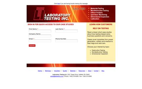 Screenshot of Case Studies Page labtesting.com - Case Studies - captured March 26, 2017