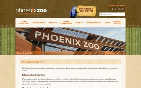 Screenshot of Privacy Page phoenixzoo.org - Privacy Policy - Phoenix Zoo - captured April 15, 2017