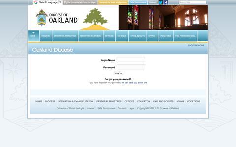 Screenshot of Login Page oakdiocese.org - Oakland Diocese - captured Oct. 12, 2017
