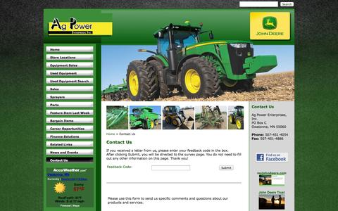 Screenshot of Contact Page agpowerjd.com - Ag Power Enterprises - Contact Us - Ag Power Enterprises Inc. - 1-507-451-4054 - Belle Plaine | Hollandale | Owatonna - captured Nov. 2, 2014