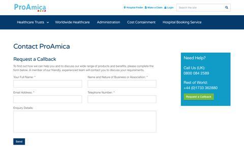 Screenshot of Contact Page proamica.com - Contact Us - captured Nov. 5, 2018