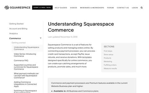 Screenshot of Support Page squarespace.com - Understanding Squarespace Commerce – Squarespace Help - captured Feb. 11, 2019